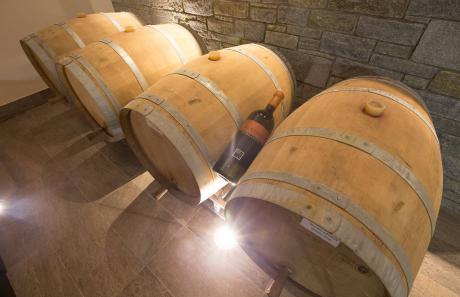 Botti di legno della cantina vinicola Valtellina